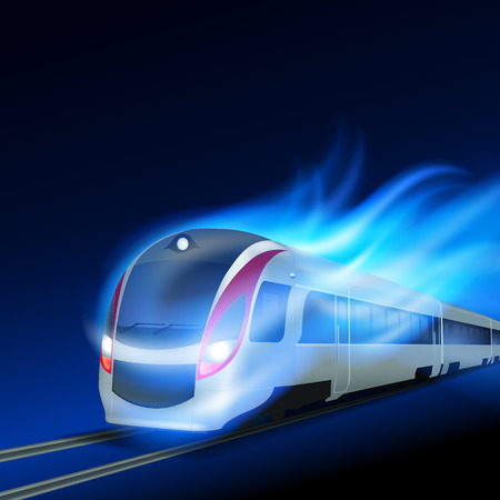 High-speed train in motion blue flame at night.   Illustration