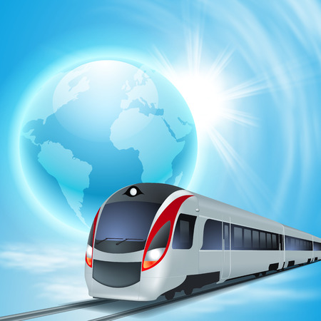 intercity: Concept background with high-speed train, the globe and sun.