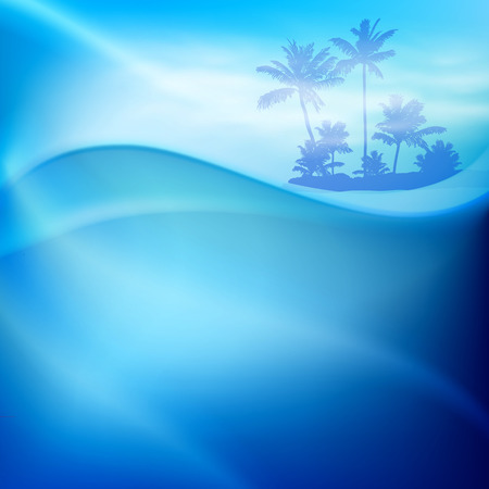Water wave and island with palm trees in sunny day.  Vector