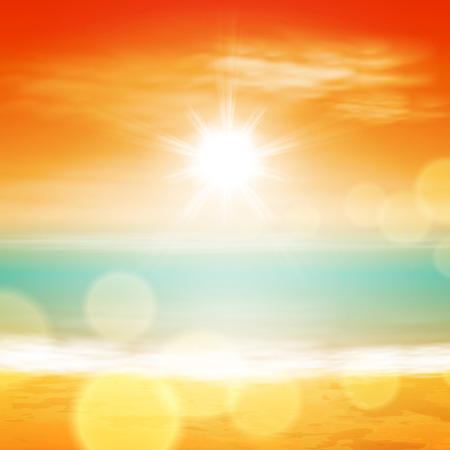 明るい太陽の下、レンズに光と海の夕日。  イラスト・ベクター素材