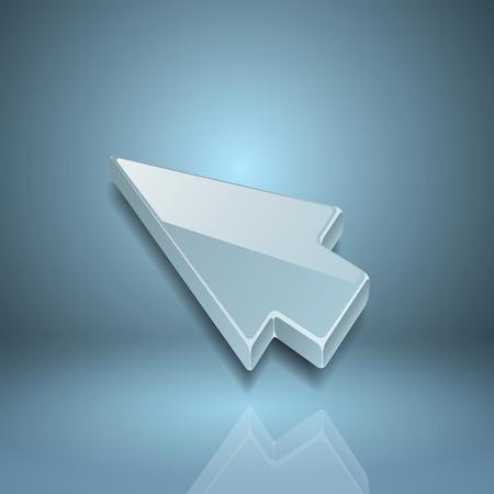 clic: Arrow cursor on gray background.