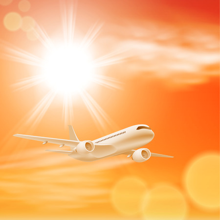Airplane in the sky with sun in sunset time.  Vector
