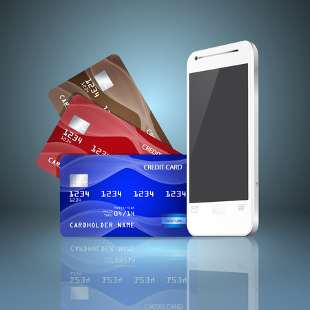 Mobile phone with credit cards on gray background. Mobile payment concept. Vector