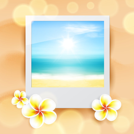 Photo with sea, on sand. Vector