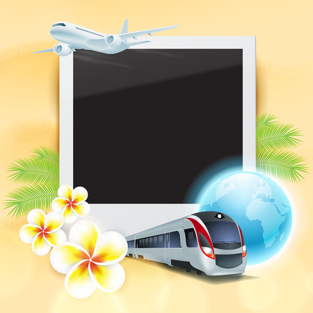 Blank photo on sand with airplane, train, globe, flowers and palm leaves.  Vector