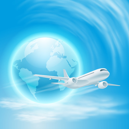 Illustration of airplane in the sky with the globe.  Vector