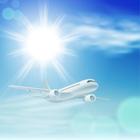 Illustration of airplane in the sky with sun.  Vector