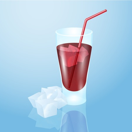 aerated: Glass of juice with ice.  Illustration