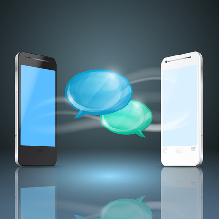 Mobile phones with glossy speech bubbles.  Vector