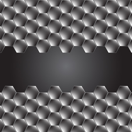 Hexagon metal background with light reflection.  Illustration