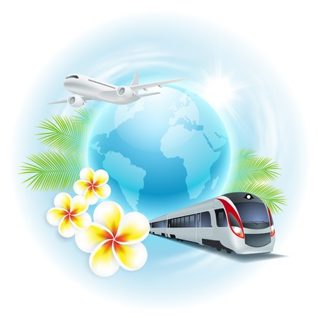 Concept travel illustration with airplane, train, globe, flowers and palm leaves. Concept travel card.  Vector