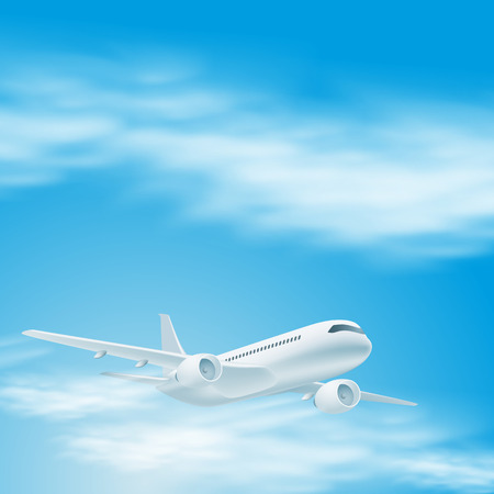 Illustration of airplane in the sky. Vector