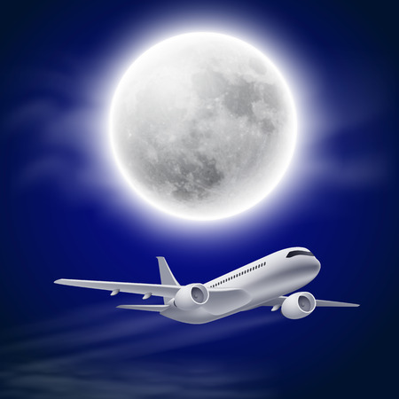 Airplane in the night sky with moon.  Vector