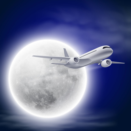 Airplane in the night sky with moon. Illustration