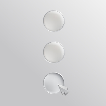 cleek: Three white buttons with cursor. Infographics template design.  Illustration