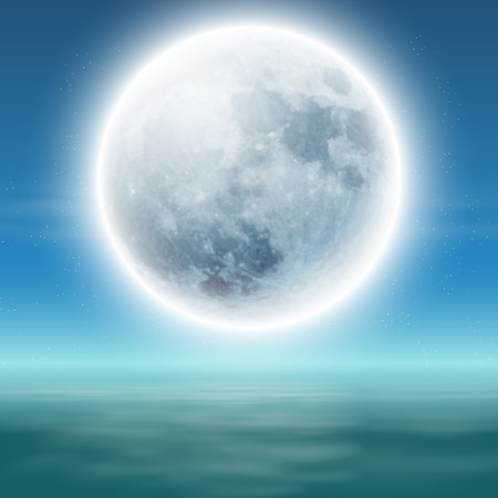 Sea with full moon at night. Vector