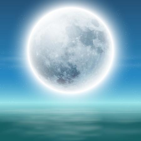 Sea with full moon at night. Illustration