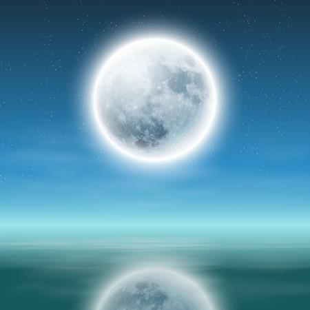 luna llena con la reflexión sobre el agua en la noche. Ilustración de vector