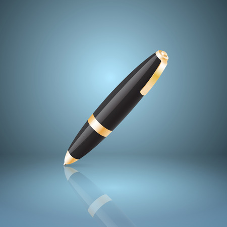 rollerball: Black ballpoint pen icon.