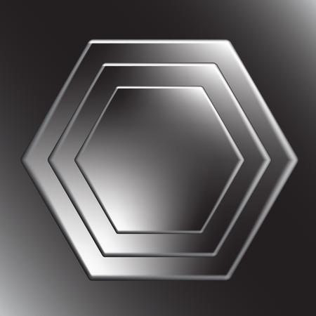 fib: Hexagon metal background with light reflection.  Illustration