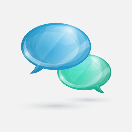 Glossy speech bubbles icon on white background.