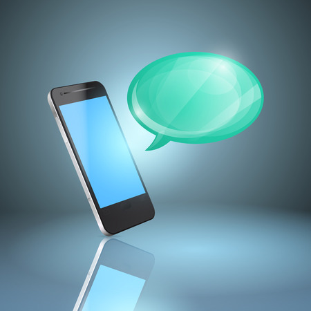 Mobile phone with glossy speech bubble.  Vector
