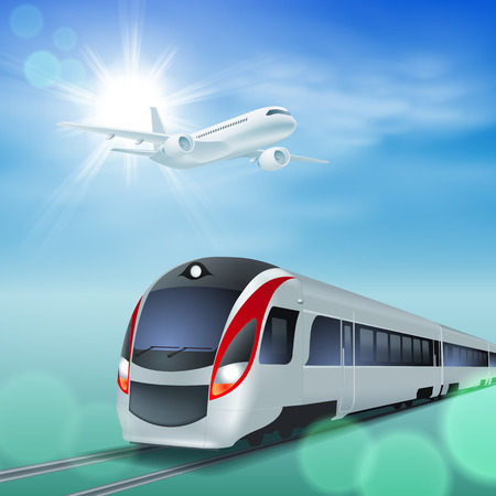 highspeed: High-speed train and airplane in the sky. Sunny day.