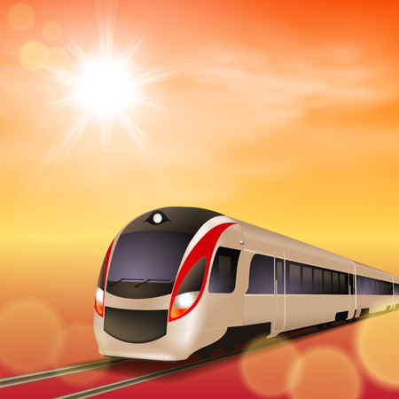 High-speed train. Sunset time. Vector