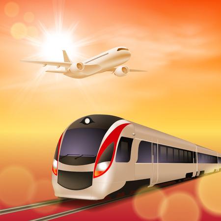 High-Speed-Zug und Flugzeug in den Himmel. Sonnenuntergang. Standard-Bild - 29208420