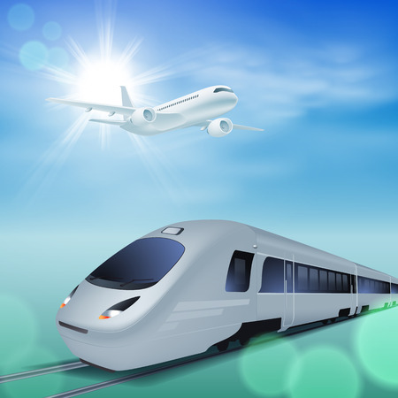 High-speed train and airplane in the sky. Sunny day.  Vector