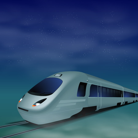 High-speed train at night.  Vector