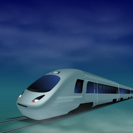 highspeed: High-speed train at night.  Illustration