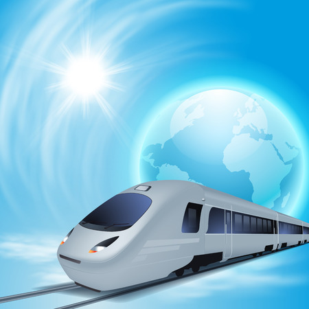 highspeed: Concept background with high-speed train, the globe and sun.