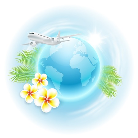 Concept travel illustration with airplane, globe, flowers and palm leaves. Vector