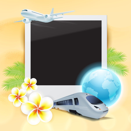 Blank photo on sand with airplane, train, globe, flowers and palm leaves. Concept travel card. Vector