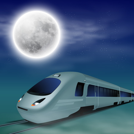intercity: High-speed train at night with full moon.