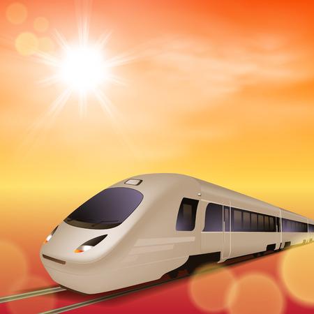 intercity: High-speed train. Sunset time.