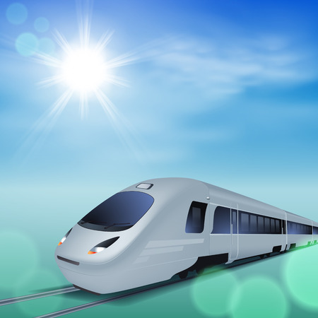 intercity: High-speed train at sunny day.
