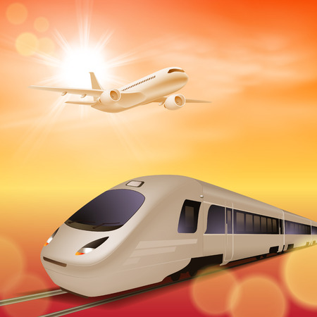 intercity: High-speed train and airplane in the sky. Sunset time.