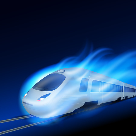blue flame: High-speed train in motion blue flame at night.