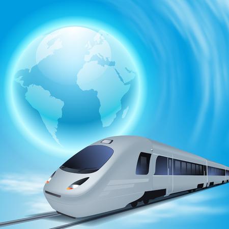 Concept achtergrond met een hogesnelheidstrein, de hele wereld.