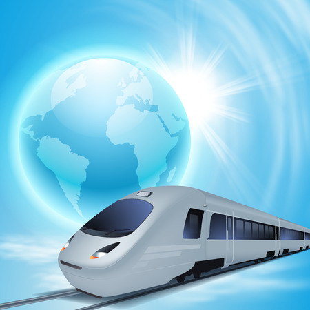 Concept background with high-speed train, the globe and sun. Vector