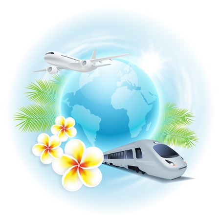 Concept travel illustration with airplane, train, globe, flowers and palm leaves.  Vector
