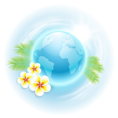 Concept travel illustration with globe, flowers and palm leaves. Vector