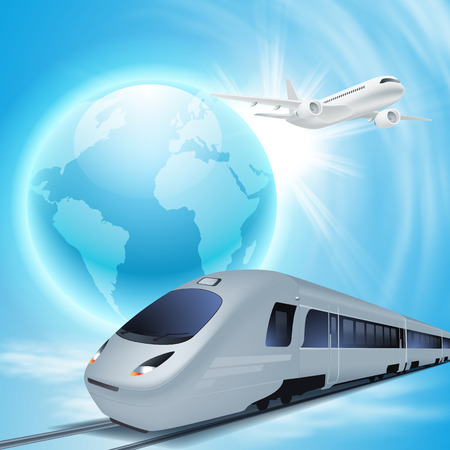 highspeed: High-speed train and airplane in the sky. Concept travel illustration.
