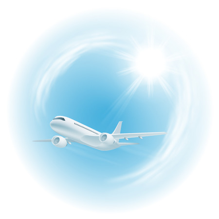 Illustration of airplane in the sky with sun.