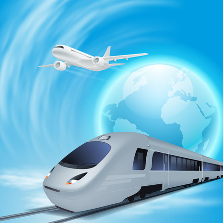 intercity: High-speed train and airplane in the sky. Concept travel illustration.