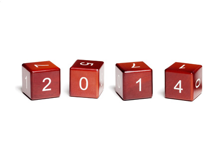 Cubes with numbers isolated on white background  Concept new year 2014  photo