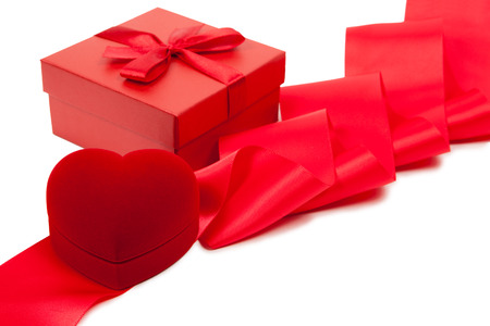 fancy box: Valentines Day Card with heart-shaped fancy box Stock Photo