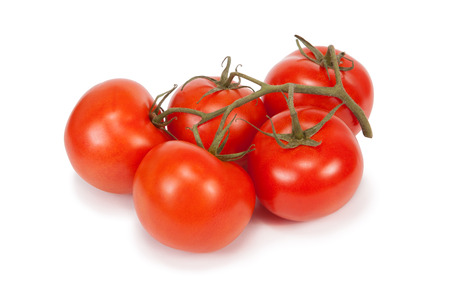 Bunch of tomatoes on white background